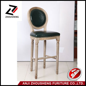 Classical Round Back Rubber Wood Timber Bar Stool High Chair pictures & photos