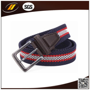 Man Leather and Alloy Buckle Elastic Braided Belt