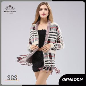 Fringed Womens Plaid Sweater Cardigan pictures & photos
