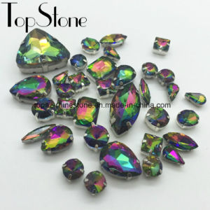 Glass Beads with Claw Sew on Jewelry Rhinestone for Necklace Setting Diamond (SW-oval/rectangle rainbow color) pictures & photos