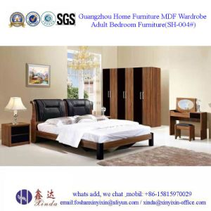 Dubai Luxury Bedroom Furniture PU Leather Double Bed (SH-001#) pictures & photos