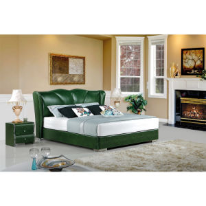 Green Color Leather Bed for Bedroom Use (FB3070) pictures & photos