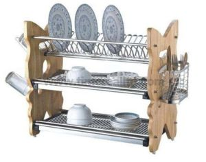 3 Layers Kitchen Metal Wire Dish Drainer Rack Wooden Board No. Dr22-Fcw pictures & photos