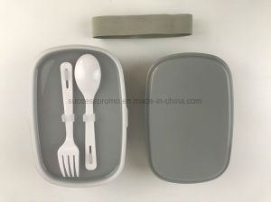 2 Layers BPA Free Lunch Box with Spoon & Fork pictures & photos