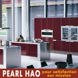 Modern Italy Design Red Acrylic Wooden Kitchen Cabinet pictures & photos