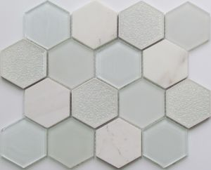 White Color Hexagon Crystal and Stone Mosaic Tile pictures & photos