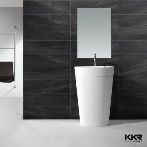Kingkonree Solid Surface Bathroom Pedestal Sink Floor Standing Basin pictures & photos