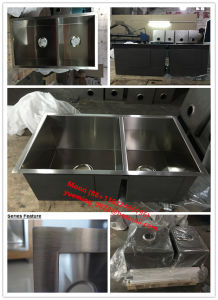 Round Corner Handmade Sink, Double 60/40 Customized Stainles Steel Sink Hmrd3319 pictures & photos
