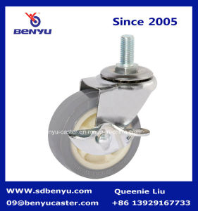 Mute Type Mute Small Screw Caster with Side Brake pictures & photos