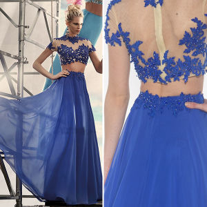 Blue Two Piece Beaded Lace Chiffon Long Girls Prom Dresses (TM-PD077)