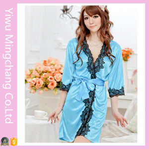 Women′s Sexy Silky Satin Lingerie Lace Pajamas (80001-1) pictures & photos
