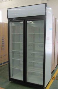 1100liter Double Sliding Door Display Cooler with Top Mounted Compressor pictures & photos