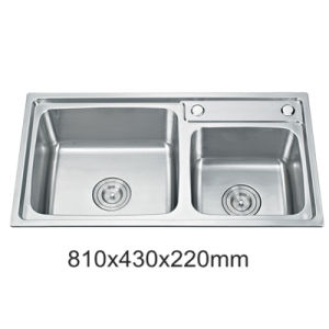 New One Piece Stainless Steel Kitchen Sink of Double Bowl (YX8143)