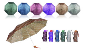 Grooved Print Compact Windproof Duomatic Umbrellas (YS-3FD33083972R) pictures & photos