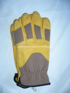 Yellow Leather Glove-Grain Leather Glove-Industrial Glove-Work Glove-Gloves pictures & photos