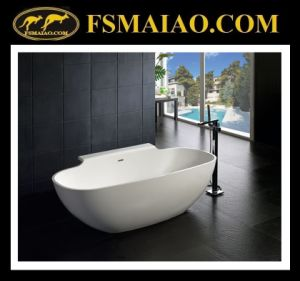 Solid Surface Modern Freestanding Bathtub with Shelf (BS-8607) pictures & photos