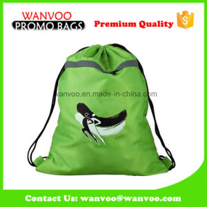 Cute Green Polyester Drawstring Backpack for Teens pictures & photos