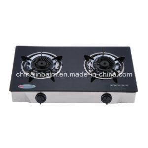 2 Burners Tempered Glass Top Brass 120mm Whirlwind Brass Burner Cooker/Gas Stove pictures & photos