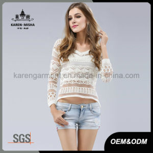 Women V-Neck Striped Cropped Tops Sun Sweater pictures & photos