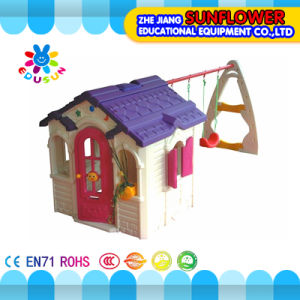 Loving Chocolate Combination Swing Play House Kids Plastic Playhouse Indoor Playground Equipment (XYH-0140)