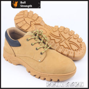 Cow Nubuck Leather with Cemented Rubber Safety Shoe (SN5367) pictures & photos