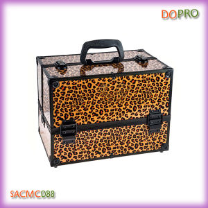 Leopard Private Label Travel Makeup Organizer Case with Shoulder Strap (SACMC088)