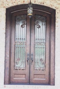 Custom Square Top Wrought Iron Double Door with Tempered Glass pictures & photos