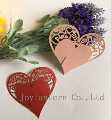 Party Supplies Laser Cut Heart for Wine Glass Place Card