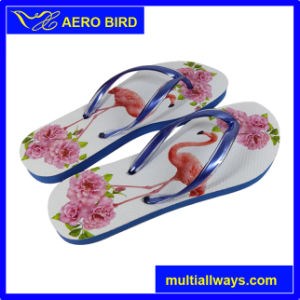 Double Color Strap PE Slippers for Ladies (BF15003-Red) pictures & photos