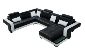 Germany Style Black and White Leather Sofa pictures & photos
