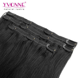 Black Color Brazilian Straight Clip in Hair Extension pictures & photos