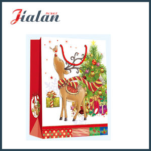 Glossy Laminated Ivory Paper Christmas Elk Shopping Gift Paper Bag pictures & photos