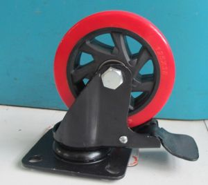 4-5 Inch Red PU Caster for Plastic Trolley with Brake pictures & photos
