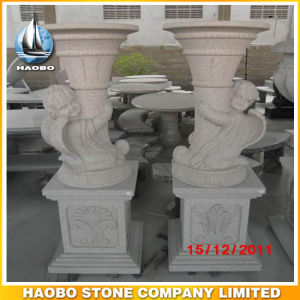 Garden Decoration Granite Vase with Carved Angel pictures & photos