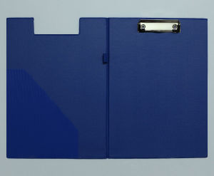 blue PVC Leather File Folders with Stainless Steel Clip pictures & photos