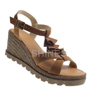Camel Ladies PU Suede Fashion High Heel Sandal