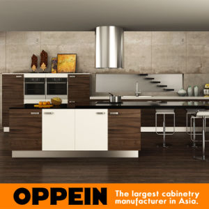 Modern Wood Grain MDF Kitchen Cabinets (OP15-PP03) pictures & photos