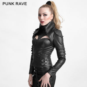 Y-626 Punk Rivet Studded Sexy Woman High Collar Tight Leather Jacket pictures & photos