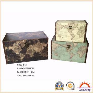 Home Furniture Wooden Decorative Vintage Light Blue World Map Print Storage Trunk pictures & photos