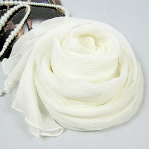 White 100% Pure Silk Georgette Long Scarf for Women in Winter