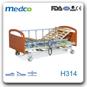Wooden Home Care Furniture, Three Functions Electric Home Care Hospital Bed with Ce&ISO pictures & photos