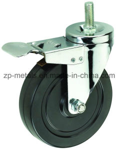 4 Inch Black Rubber Thread Caster Wheels with Brake