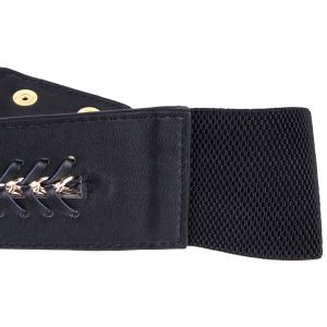 Black Color PU Leather Metal Chain Elastic Ladies Belts (RS12005) pictures & photos