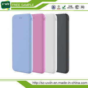 Ultra-Thin Mobile Power Bank 4000mAh Built-in Line Cable pictures & photos