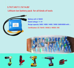 Rechargeable 7.4V 5600mAh Lithium Battery LiFePO4 Battery Pack for E-Tools Battery pictures & photos