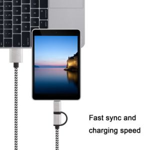 Nylon Braided 2in1 USB Charging Data Cable for iPhone and Samsung pictures & photos