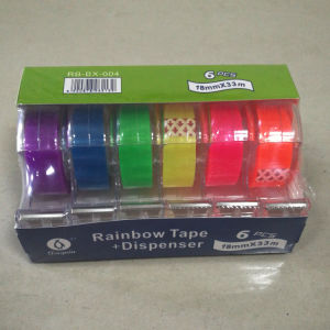 18mm X 10m Colored Rainbow Tape with Dispenser in Display Box pictures & photos