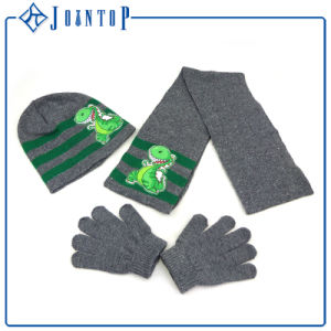 Fashion Jacquard Acrylic Knitted Hat Glove Scarf Sets pictures & photos