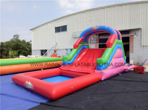 No Printing Inflatable Climbing Wall and Slide with Swimming Pool pictures & photos