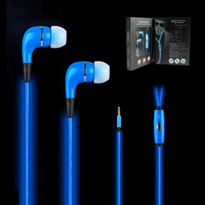Colorful Light up Earphones LED EL Wire Flash Earphone Hearphone Headset with Mic for Mobile Cell Phone pictures & photos